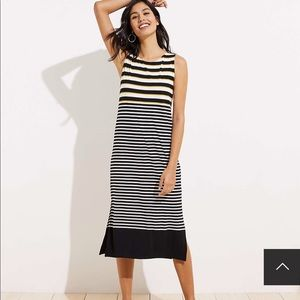 Mixed Stripe Cutout Back Midi Dress By LOFT